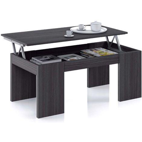 table basse a plateau relevable coloris gris cendre dim 100 x 50 x 42 cm pegane