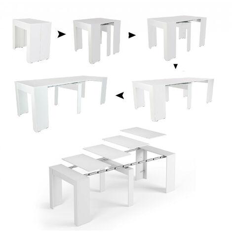 dmora table console extensible blanc brillant 90 x 78 x 51 cm jusqu a 237 avec rallonges