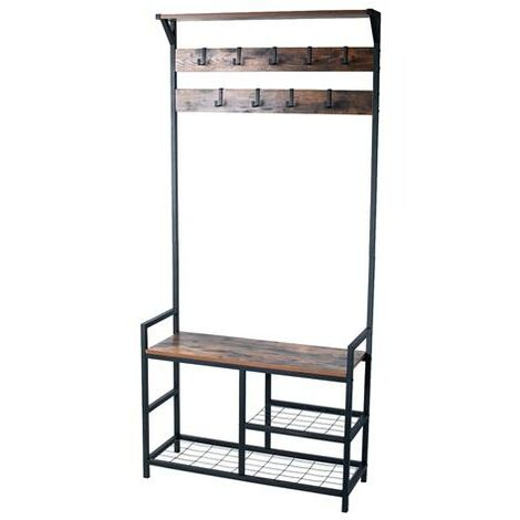 coat rack shoe bench hall tree entryway storage bench wood look accent furniture with metal frame 3 in 1 design rustic brown