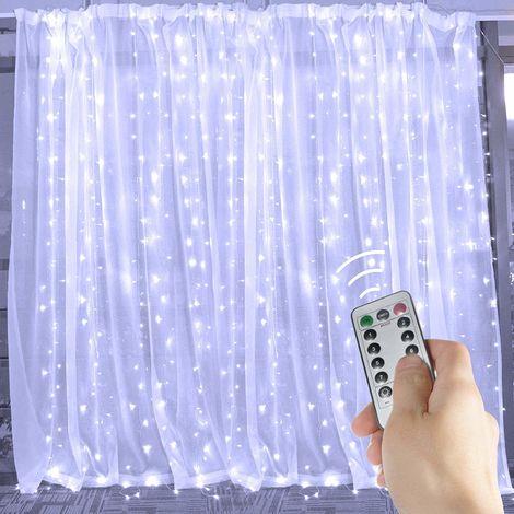rideau lumineux en fil blanc 3 3m 300 lumieres