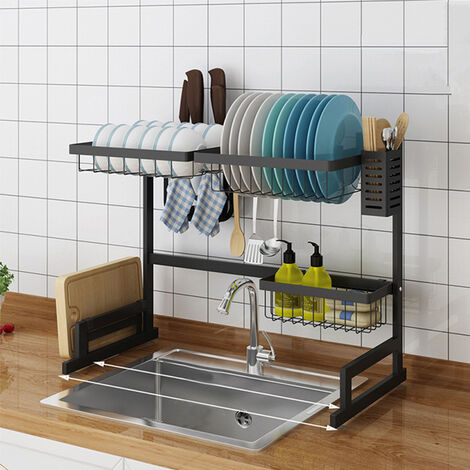 large over sink kitchen dish rack stainles steel bowl drain drying drainer shelf 65 32 52cm