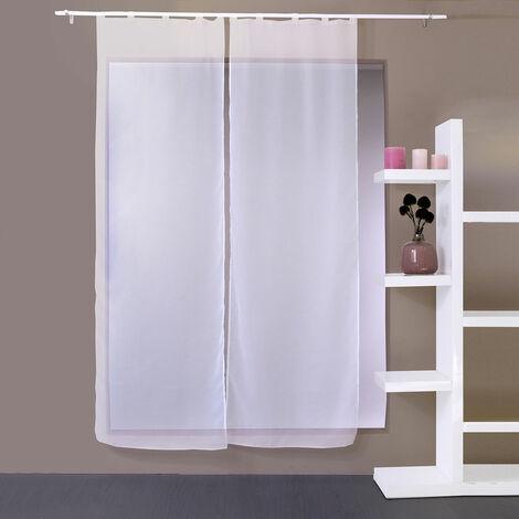 paire de vitrages droits a 5 passants blanc 2 x 70 x 220 cm blanc