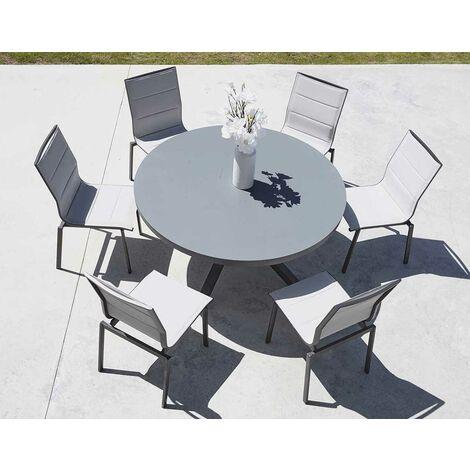 salon de jardin avec table ronde anthracite d 140 x 74 cm anthracite