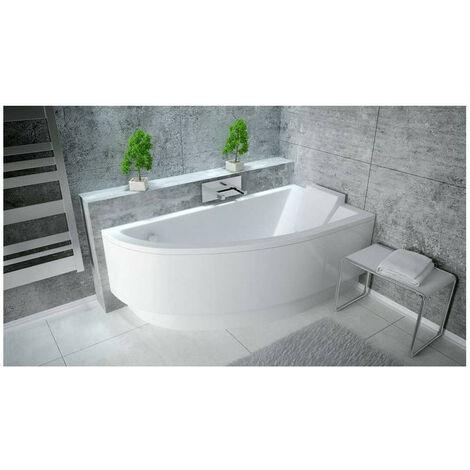 baignoire d angle oriego 140 cm droite avec tablier blanc