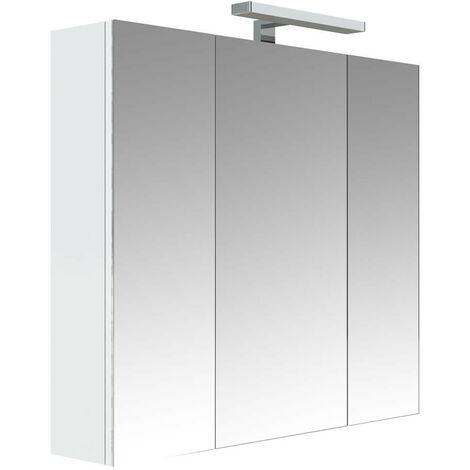 Allibert Armoire De Toilette Eclairante 80 Cm 3 Portes Miroirs Blanc Brillant Stella Tnt 823070