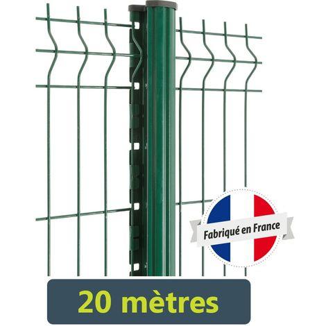 kit cloture panneaux rigides fil o5mm 20 metres gris anthracite 1 93 metre scellement