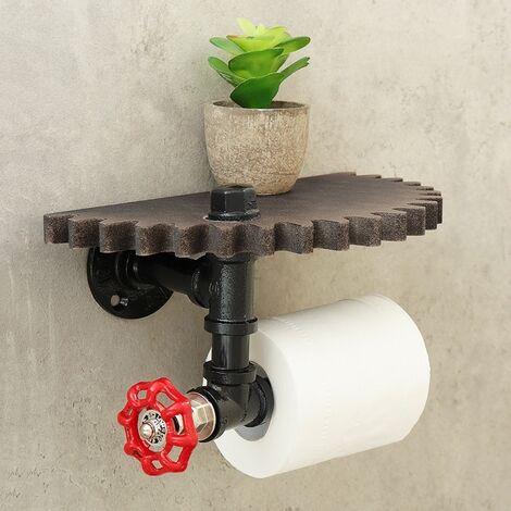 support de tuyau en fer industriel retro support de papier hygienique rouleau etagere murale en bois