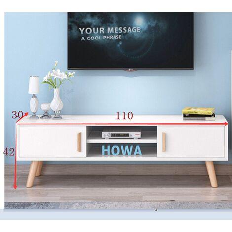 bathrins meuble tv a pied en bois a double porte coulissante blanc 110 30 42cm