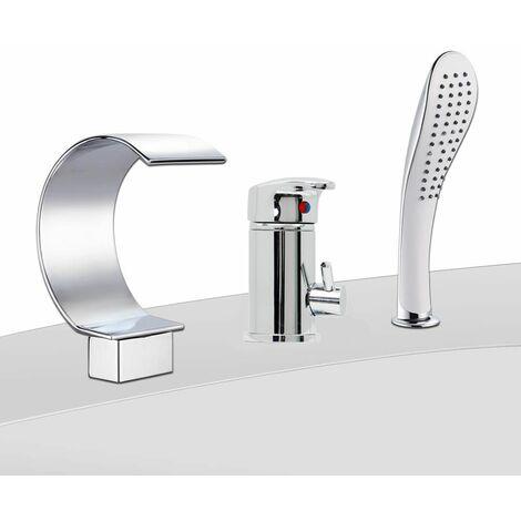 mitigeur bain douche 3 trous douchette robinet de baignoire