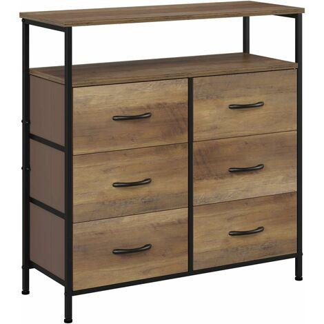 intey commode a 6 tiroirs buffet salon style industriel meuble de rangement etagere en metal tiroirs en tissu 80 x 30 x 81 5cm