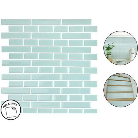 4 sea glass backsplash tiles peel stick 4pcs teal blue home wall stickers