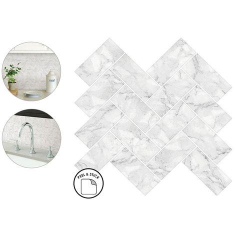 herringbone carrara backsplash tiles peel stick 4pcs white marble wall sticker