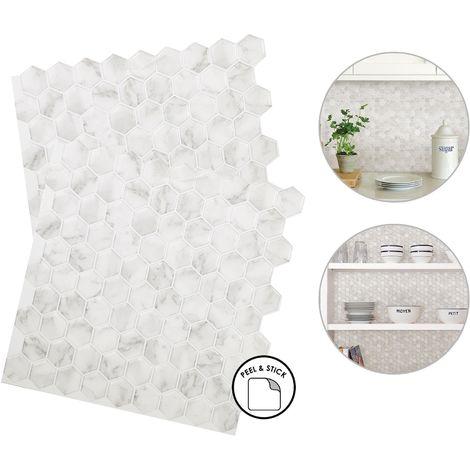 hexagon marble backsplash tiles peel stick 4pcs white grey home wall stickers
