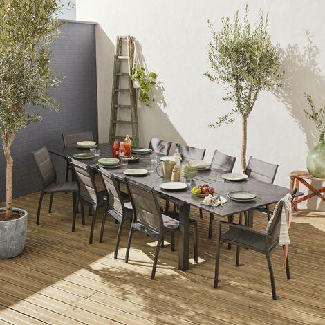 salon de jardin table extensible odenton grande table en aluminium 235 335cm et 10 assises en textilene anthracite gris fonce