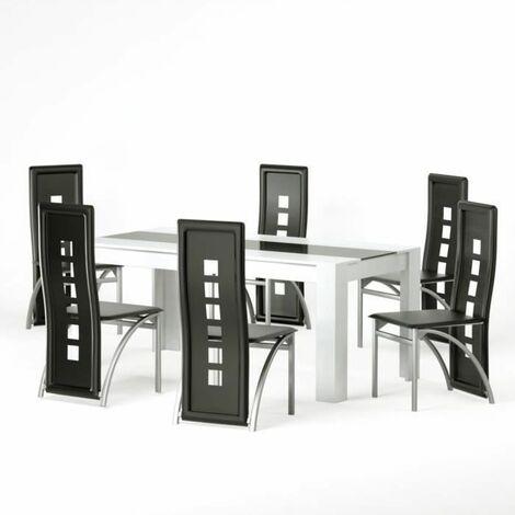 damia ensemble table a manger 6 a 8 personnes 6 chaises contemporain blanc et verre trempe noir l 180 x l 90 cm