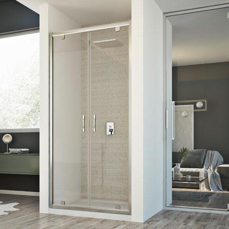 porte paroi douche 80 cm h198 mod cristal 2 portes transparent