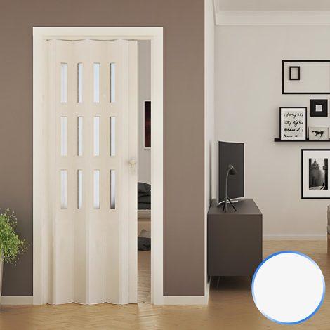 Porte Pliante Accordeon Blanc En Pvc Verre Opaque 88 5x214cm Mod Luciana