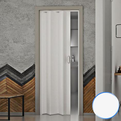 Porte Pliante Reductible Accordeon Blanc Pastel Pvc Coulissante 83x214 Monica