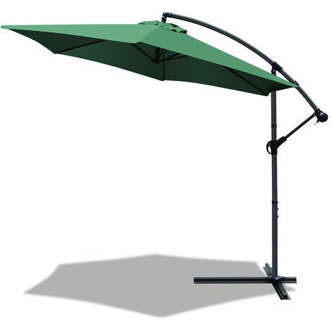 vounot 3m cantilever garden parasol banana patio umbrella with crank handle and tilt green