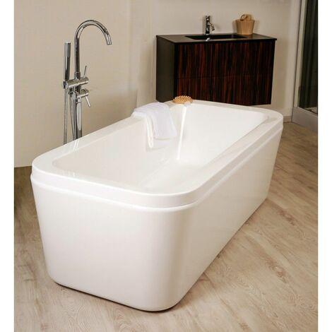 baignoire ilot rectangulaire l 170 x l 80 cm blanc batz degeo blanc
