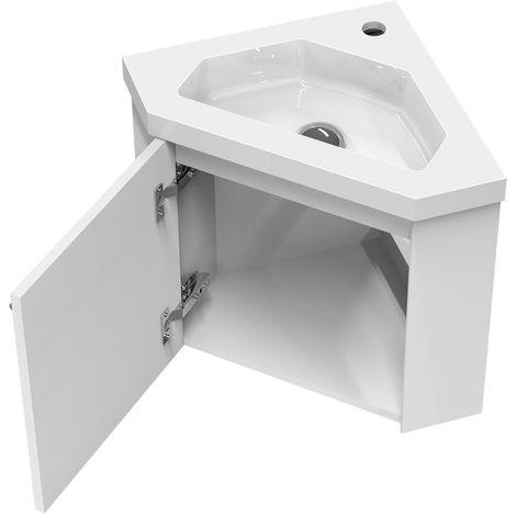 meuble salle de bain d angle 39 5x39 5x42cm 1 porte meuble suspendu avec la vasque couleur blanc