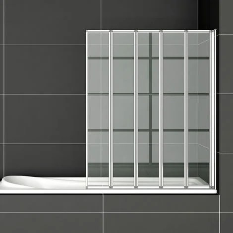 120x140cm bath screen pare baignoire 5 volets retractables et pliants 4mm verre trempe