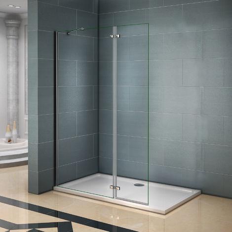 paroi de douche 120x200cm avec retour pivotante 40cm et barre de fixation 90cm verre anticalcaire