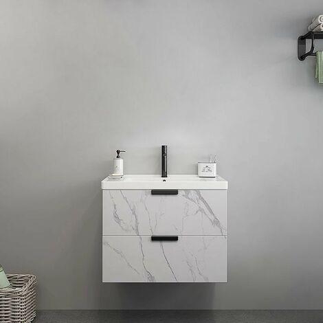 meuble de salle de bain avec tiroirs aspect marbre blanc 60 cm