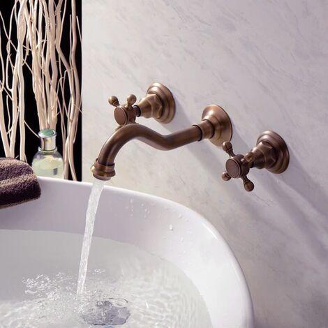 robinet salle de bain mural a double poignee robinet de style antique fini en laiton poli