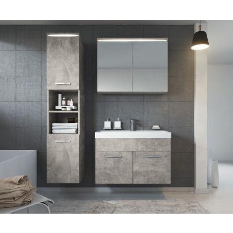 meuble de salle de bain de paso 80x40cm lavabo beton gris armoire de rangement meuble lavabo armoire miroir beton gris