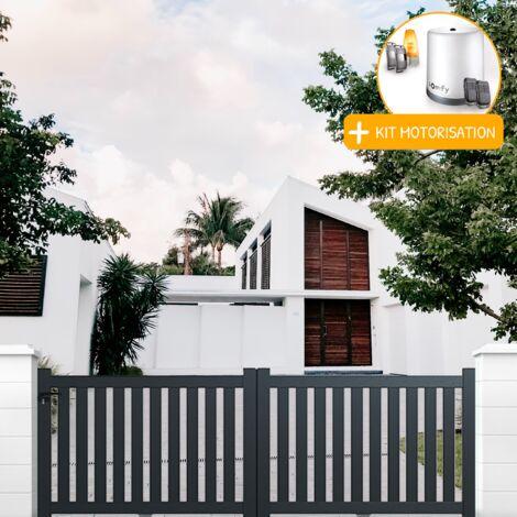 Portail Aluminium Coulissant Ajoure En Kit Motorisation Dimension L 3000 Entre Piliers X H 1200 Mm
