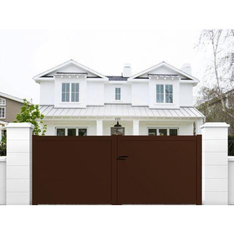portail aluminium battant plein en kit dimension l 3000 entre piliers x h 1500 mm couleurs blanc ral 9010