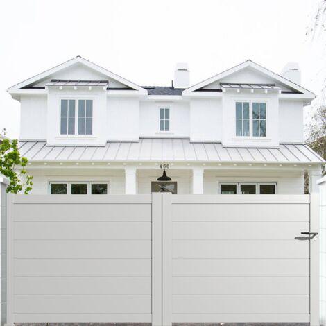 portail aluminium coulissant plein en kit dimension l 3000 entre piliers x h 1500 mm couleurs blanc ral 9010