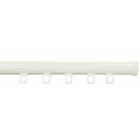 tringle rail decorail pret a poser pour rideau a galon fronceur longueur 1 50 metre coloris blanc laque blanc laque
