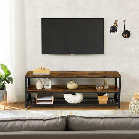 vasagle meuble tv pour televiseurs jusqu a 43 pouces support tele buffet table basse cadre en acier pour chambre salon style industriel marron