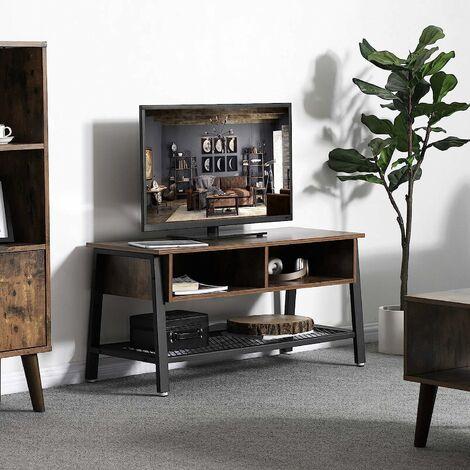 vasagle meuble tv vintage table basse avec etagere de rangement en treillis table d appoint avec cadre climatique 2 casiers aspect bois vieilli