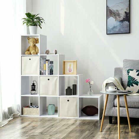 etagere escalier meuble de rangement 10 compartiments pour bibliotheque salon chambre blanc lbc10wtv1 blanc