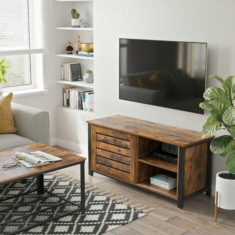 vasagle meuble tv pour televisons jusqu a 48 pouces buffet bas avec portes coulissantes et 2 etageres pour salon chambre cadre en fer 110 x 40 x