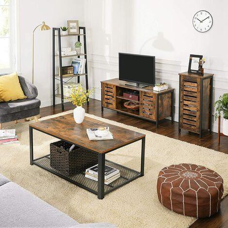 vasagle meuble tv support television avec etageres et placards de rangement portes persiennes pour salon salle de jeu style industriel marron
