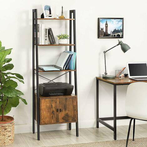 vasagle etagere echelle bibliotheque etagere de rangement avec placard 4 niveaux cadre en acier stable salon chambre bureau 56 x 34 x 173 cm