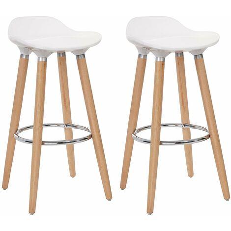 lot de 2 tabourets de bar pieds en bois de hetre hauteur de l assise 73cm assise en plastique abs blanc ljb20w blanco