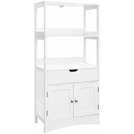 vasagle meuble de rangement avec tiroir 2 etageres ouvertes double porte meuble de salle de bain meuble d entree cuisine salon blanc par songmics