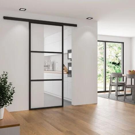 porte interieure coulissante en verre 102 x 220 cm decor industriel sans softclose