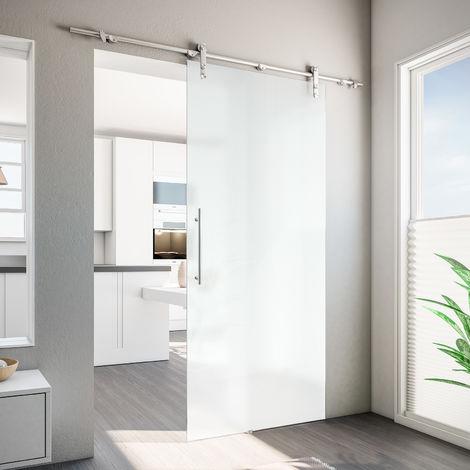 porte coulissante interieure en verre opaque inova 90 x 208 cm rail apparent arrondi poignee barre verre 8 mm