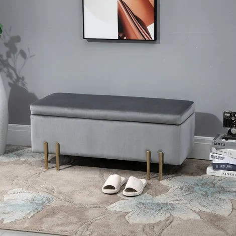Banc De Rangement En Velours Coffre Rangement Tabouret Avec Pieds Metallique Design Moderne Luxueux Ideal Pour