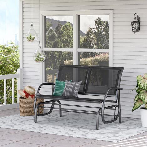 banc a bascule de jardin 2 places design contemporain grand confort accoudoirs assise et dossier ergonomique acier textilene noir