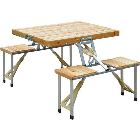 table de camping jardin pique nique pliante en bois avec 4 sieges