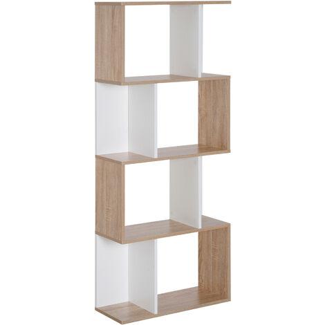 bibliotheque etagere meuble de rangement design contemporain en s 4 etageres 60l x 24l x 148h cm coloris chene blanc