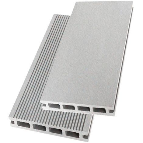 lames terrasse composite gris 2 60m garantie 7 ans reversibles couleur gris clair