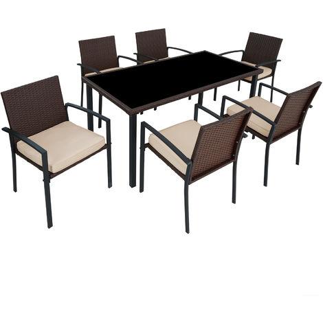 salon de jardin 6 chaises et 1 table en resine tressee structure acier marron